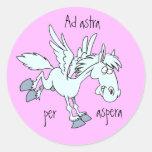 Latin: Ad astra per aspera Round Sticker