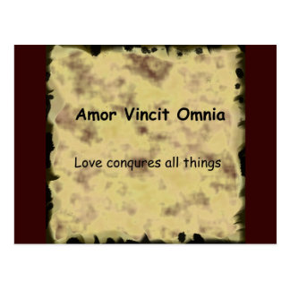 Latin Amor Vincit Omnia LOVE CONQUERS ALL THINGS Postcard
