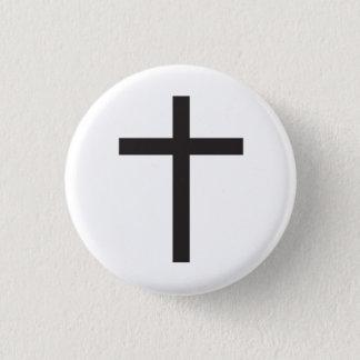 Latin Cross Religious Symbol 3 Cm Round Badge