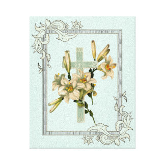 Latin Cross With Flowers Canvas Print