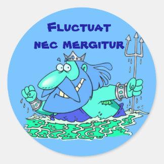 Latin: Fluctuat nec mergitur Round Sticker