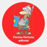 Latin: Fortes fortuna adiuvat Round Stickers