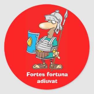 Latin Fortes fortuna adiuvat Round Stickers