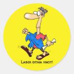 Latin: Labour omnia vincit! Round Sticker