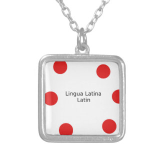 Latin Language Design (Lingua Latina) Silver Plated Necklace