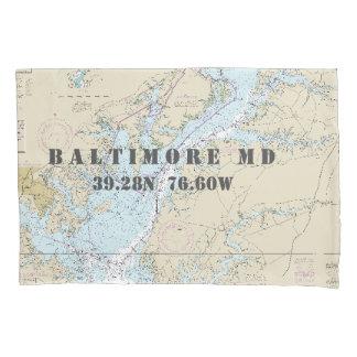 Latitude Longitude Baltimore MD Nautical Chart Pillowcase