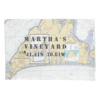 Latitude Longitude Martha's Vineyard Nautical Pillowcase
