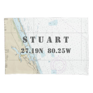 Latitude Longitude Stuart FL Nautical Chart Pillowcase