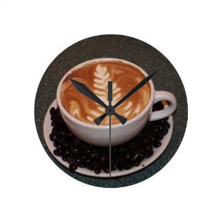 Latte Art Round Clock
