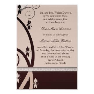 "Latte Cabernet Floral Vine Wedding Invitation 5"" X 7"" Invitation Card"