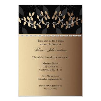 Latte Cream Leaf Border Bridal Shower Invitation