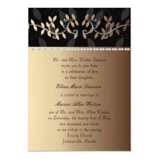 Latte Cream Leaf Border Wedding Invitation