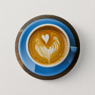 Latte Heart Art 6 Cm Round Badge