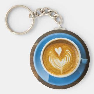 Latte Heart Art Key Ring