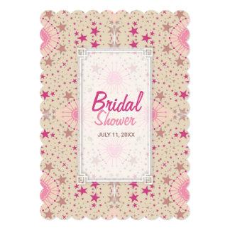 Latte Pink Stars Pattern Bridal Shower Invitation