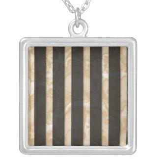 Latte Stripes Square Pendant Necklace