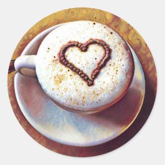 Latte with Heart Round Sticker