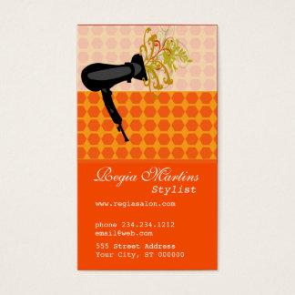 Latticce Work  Hair Stylist  Dryer Blowing Flower Business Card
