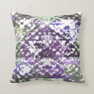 Lattice Floral Soft Purple Green Check Back Pillow