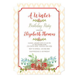 Lattice Frame Floral Invitation