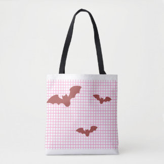 Lattice koumoritotobatsugu of bat in pink pink tote bag