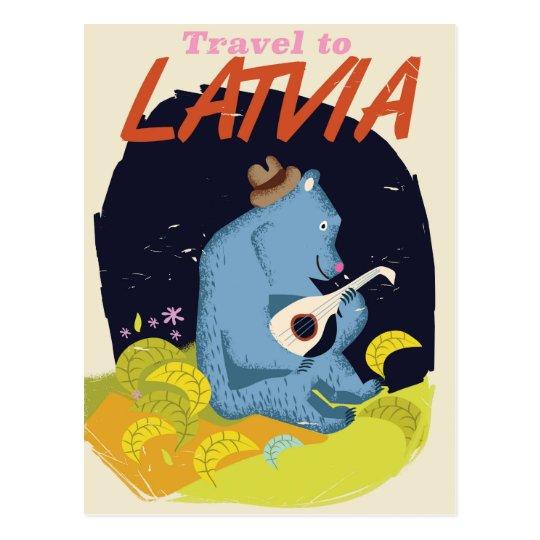 Latvia Cartoon vintage travel poster Postcard