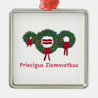Latvia Christmas 2 Metal Ornament