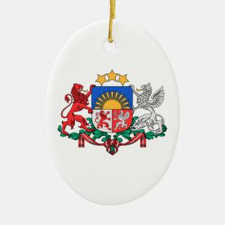 Latvia Coat of Arms Ceramic Oval Decoration