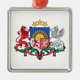Latvia Coat of Arms Silver-Colored Square Decoration