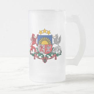 latvia emblem frosted glass beer mug