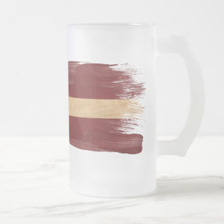 Latvia Flag Frosted Glass Beer Mug