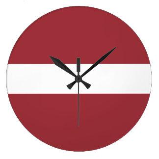 Latvia Flag Large Clock