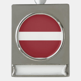 Latvia Flag Silver Plated Banner Ornament