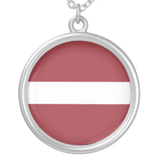 Latvia Flag Silver Plated Necklace