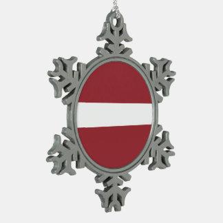 Latvia Flag Snowflake Pewter Christmas Ornament