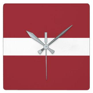 Latvia Flag Square Wall Clock