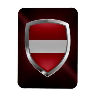 Latvia Metallic Emblem Rectangular Photo Magnet