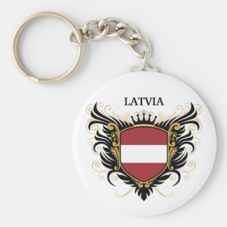 Latvia [personalize] basic round button key ring
