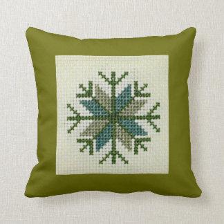 Latvian Cross Stitch Design Throw Pillow