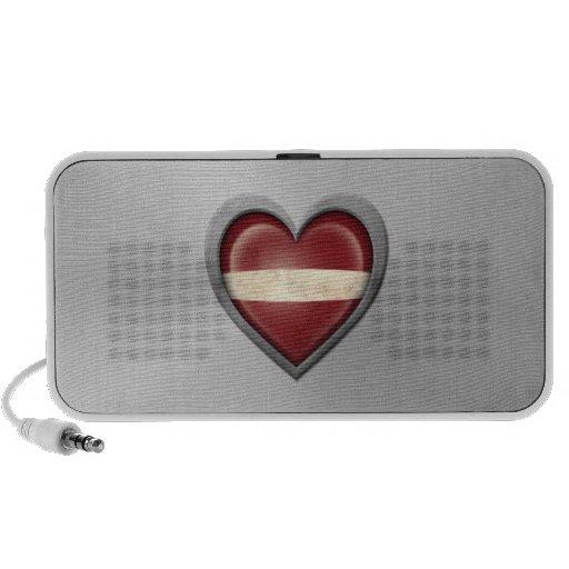 Latvian Heart Flag Stainless Steel Effect Speakers