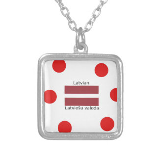 Latvian Language And Latvia Flag Design Silver Plated Necklace