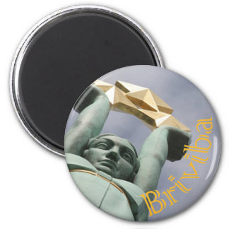 Latvian maget with feedom monument 6 cm round magnet
