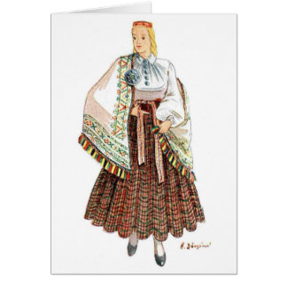 Latvian Traditional costume card