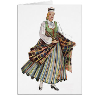 Latvian traditional costume note card