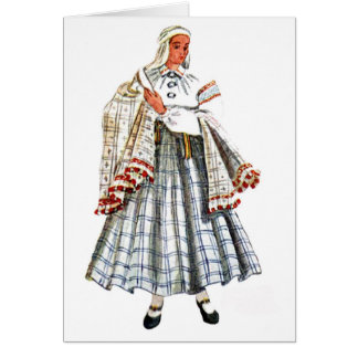 Latvian traditional folk costume card