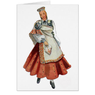 Latvian Tradtitional costume Nica Note Card