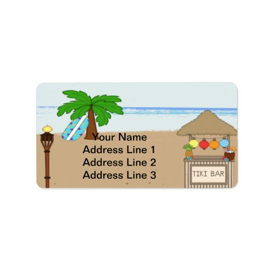 Laua / Tiki Party  Invitation Address Labels