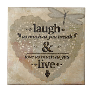 Laugh As Much AsYou Breathe Mindfulness Quote Gift Ceramic Tile
