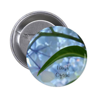 Laugh Often buttons custom Blue Hydrangea Flowers