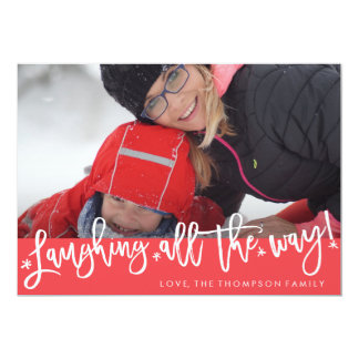 Laughing All the Way Script Holiday Photo Card